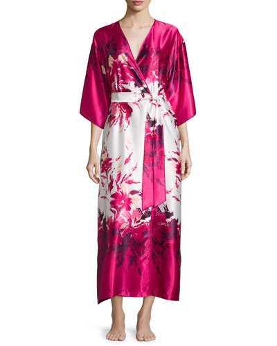 Floral-Print Charmeuse Long Wrap Robe, Fuchsia Print