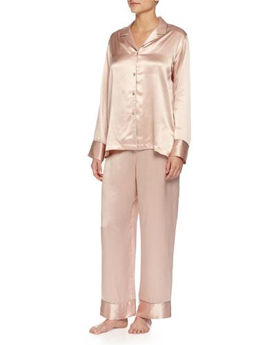 Jasmine Long Silk Pajama Set, Rose
