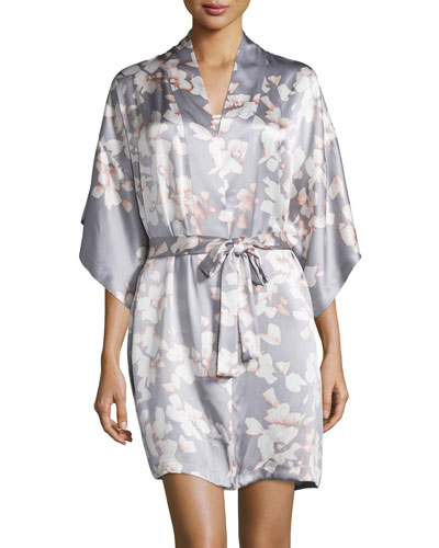 Azalea Floral-Print Wrap Robe, Gray
