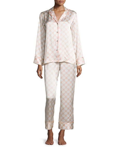 Arabesque Geo-Printed Two-Piece Pajama Set, Blush