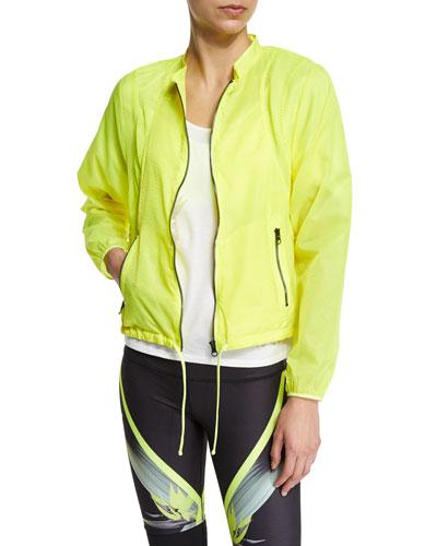 Sunset Nylon Jacket W/Mesh Inset, Highlighter