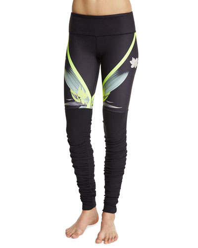 Goddess Printed Ribbed Sport Leggings