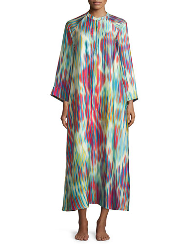 Ikat Printed Zip Lounge Caftan, Bright Blue Multi