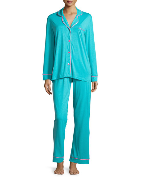 Cosabella Bella Contrast-Trim Long-Sleeve Pajama Set, Blue/Pink