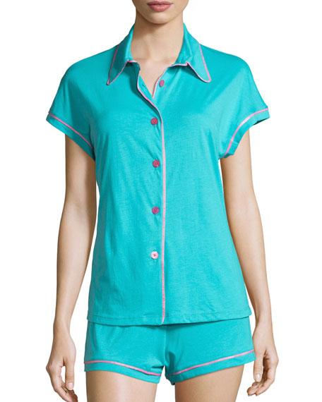 Cosabella Bella Cap-Sleeve Pajama Set, Blue/Pink