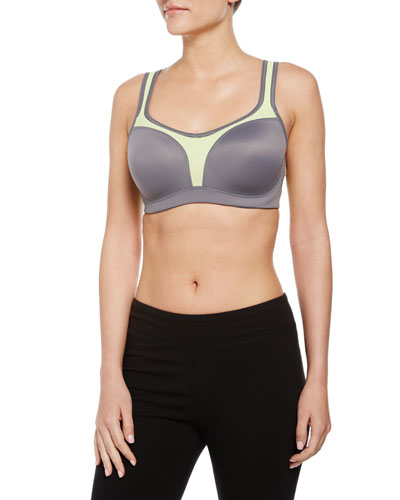 Colorblock Sport Contour Bra, Platinum/Green