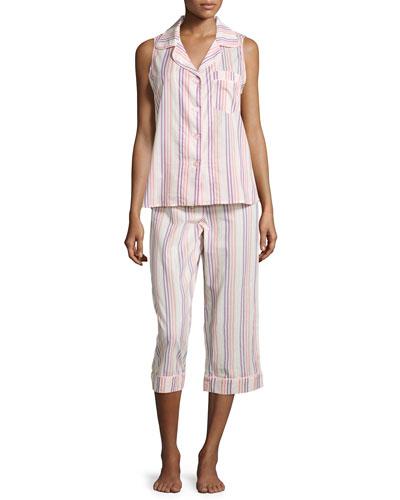 Cabana Striped Cropped Pajama Set, Coral Stripe