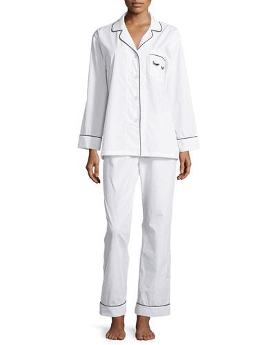 Long-Sleeve Pajama Set W/Embroidered Eye-Detail, Ivory
