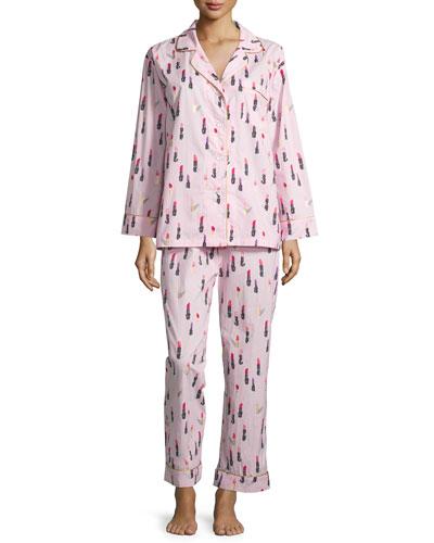 Lipstick-Print Long-Sleeve Classic Pajama Set, Pink