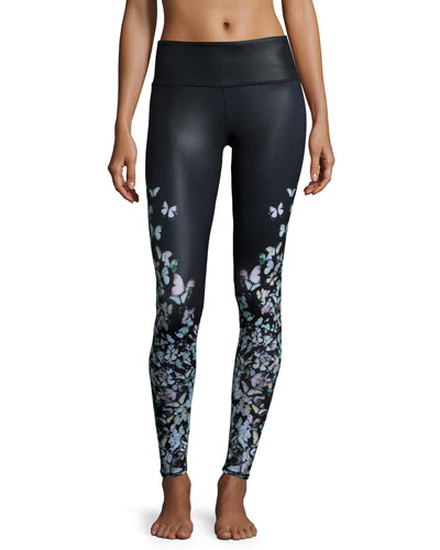 Airbrush Butterfly-Print Sport Leggings