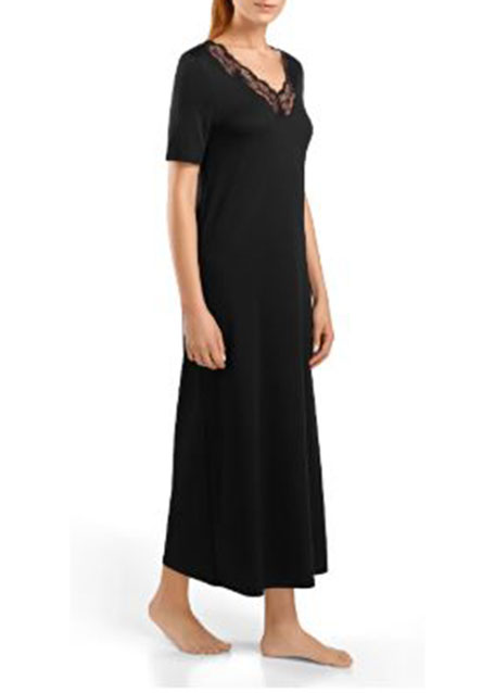 Valencia Short-Sleeve Long Gown, Black