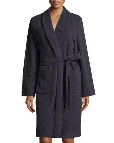 Plush Basic Tie-Waist Robe, Purple Grey