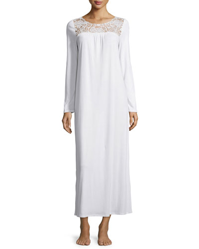 Vittoria Long-Sleeve Long Gown, Off White