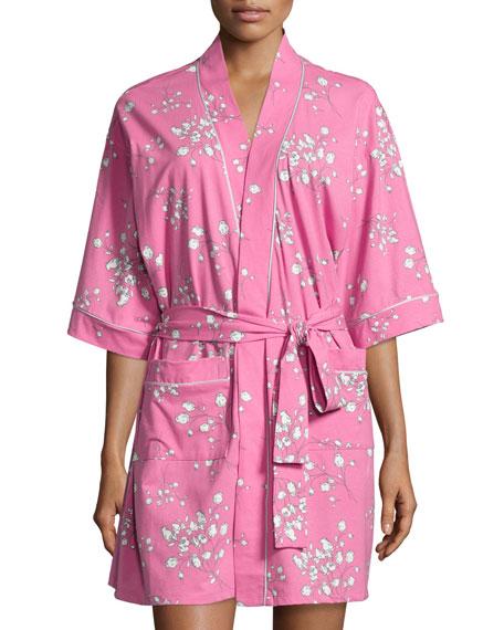 Floral-Print Short Kimono Robe, Pink Flower