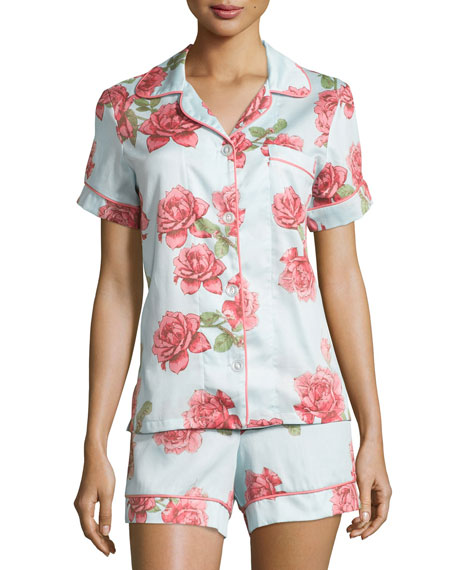 Bedhead Rose-Print Shorty Pajama Set, Light Blue, Plus