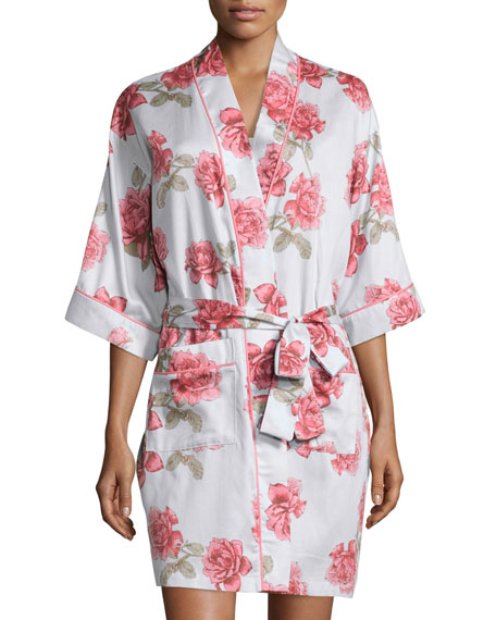 Rose-Print Short Kimono Robe, Light Blue