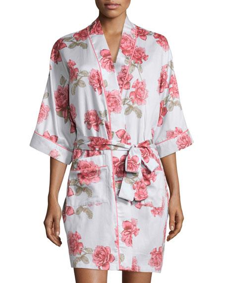 Bedhead Rose-Print Short Kimono Robe, Light Blue