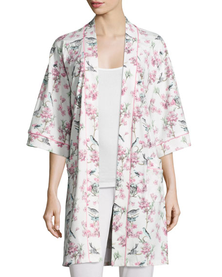 Bird Toile-Print Short Kimono Robe, Blue