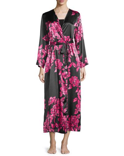 Floral-Print Charmeuse Wrap Robe, Black/Pink