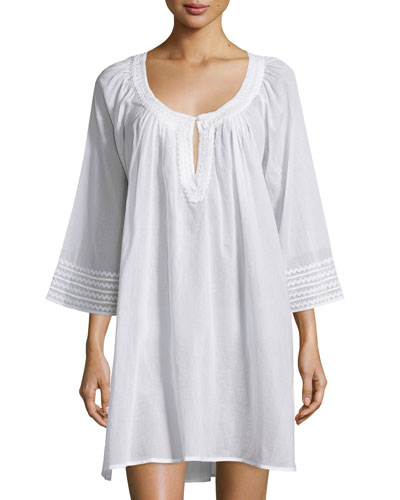 3/4-Sleeve Embroidered Sleepshirt