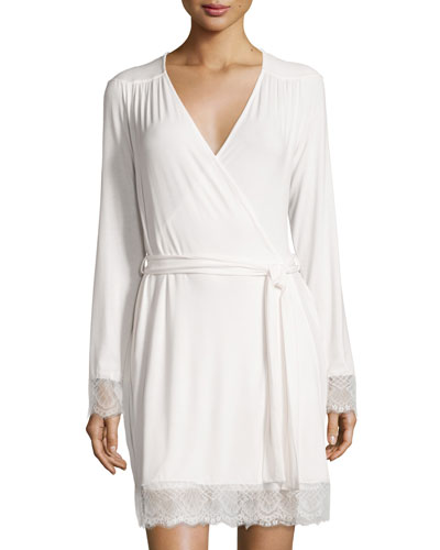 Cheyene Long-Sleeve Robe, Moon Ivory