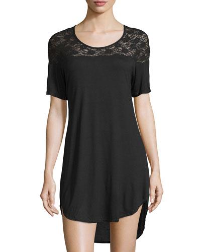 Arizona Scoop-Neck Sleepshirt, Black