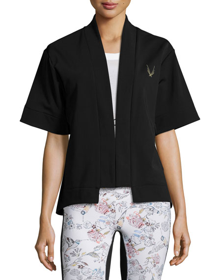 Open-Front Short-Sleeve Bolero Sport Jacket, Black