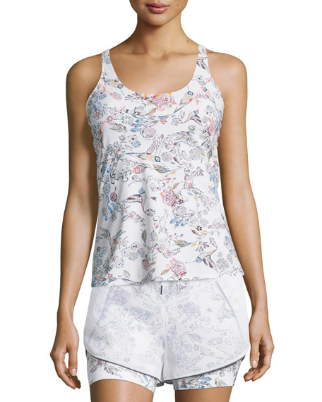 Inca Cutout-Back Fitted Tank, White Peru Print