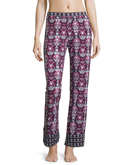 Clara Printed Wide-Leg Pants, Black/Deep Ruby