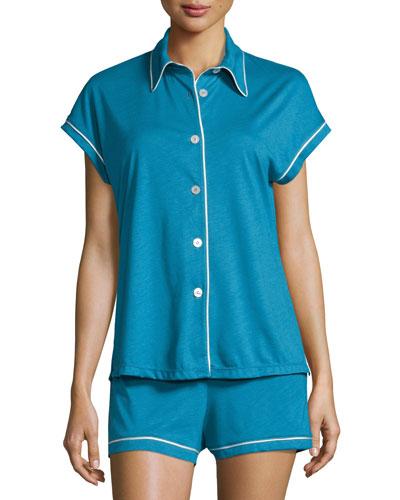 Bella Cap Sleeve Pajama Set, Ardesia Blue/Ivory