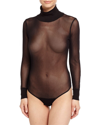 Bisou Turtleneck Mesh Teddy, Black
