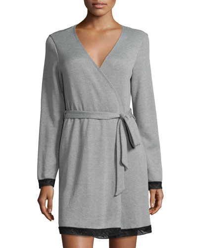 Waldorf Short Robe, Heather Gray/Black