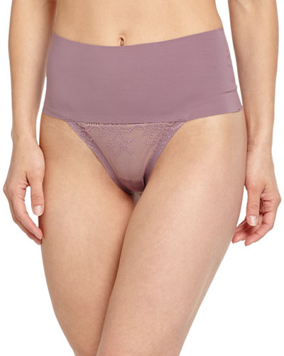 Undie-Tectable High-Waist Mesh Thong, Mulberry Shadow