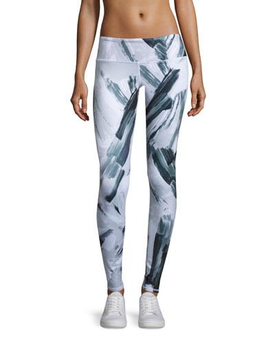 Airbrush Sport Leggings, Modernist Black/White