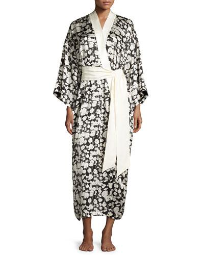 Queenie Sabine Silk Kimono Robe, Black/White