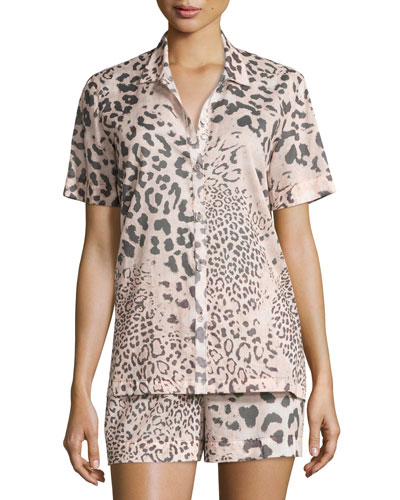 Animal Print Short Pajama Set, Light Pink
