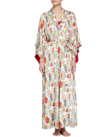 Natori Dynasty Pearl-Print Long Robe, Red/Multicolor