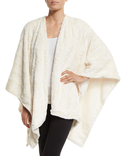 Faux-Fur Reversible Shawl, White