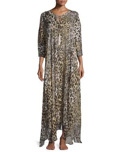 Silk Shadow Leopard Lounge Caftan, Gray Multi