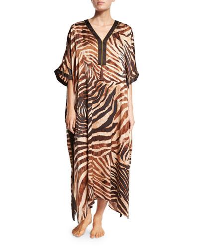 Silk Zebra-Print Caftan, Natural