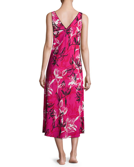 Floral-Print Crepe de Chine Nightgown, Berry Print