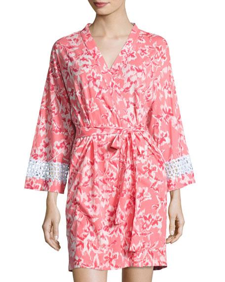 Print Cotton Wrap Robe, Coral