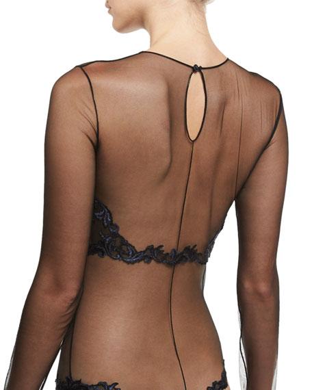 Secret Story Embroidered Bodysuit, Black