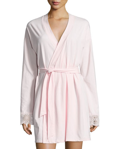 Sonia Jersey Lounge Robe, Pink Lilly