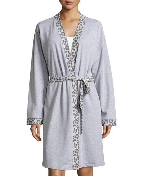 Leopard-Print Long-Sleeve Knit Robe, Heather Gray