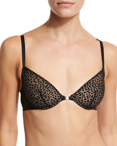 Cosabella Ziegfeld Front-Close Underwire Bra, Black Burnout