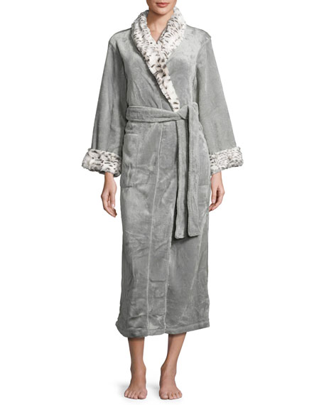 Long Robe with Animal-Print Trim, Snow Lynx