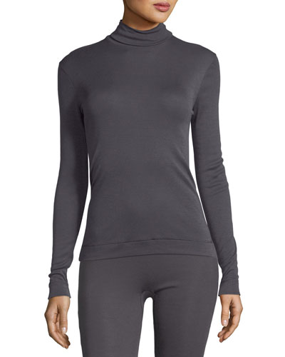 Silk-Cashmere Turtleneck Top