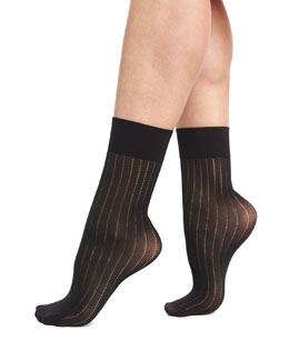 Romie Thin Pinstripe Socks, Black