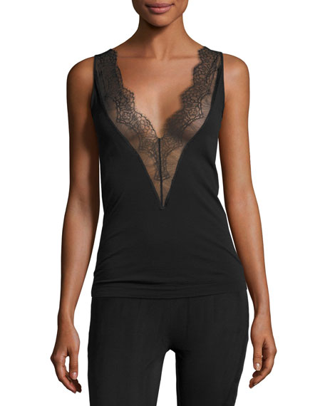 Wolford Wool Blend Lace Trim Tank Top Black